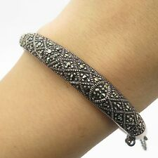 Signed Vtg 925 Sterling Silver Real Marcasite Gemstone Bangle Bracelet 7""