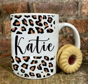 Personalised leopard print name mug any text Mug birthday mug FREE GIFT BOX