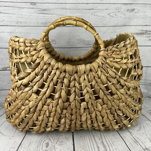 Straw Bag Bamboo Handles Purse Lined Large 18in x 10in x 14in Beach Tote Cruise