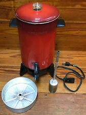 Rare Vintage Poppy Red Mirro-Matic Electric Coffee Percolator 22 Cup