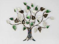 670588 Wanddeko 64x56cm Baum mit Blättern aus farbigem, glänzendem Metall