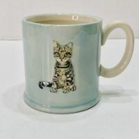 The Old Pottery Company Coffee Mug Grey Tabby Kitten Figural 3D Blue 10 oz.