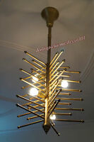 Mid Century Modern Vintage Brass Finish Atomic Sputnik Chandelier Fixture1950s