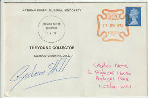 GRAHAM HILL - SIGNED - 1973 OPENING OF STAMP EXHIBITION ENVELOPE