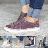 Women Slip On Canvas Flat Trainers Lady Loafers Plimsolls Pumps Casual Shoes New