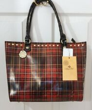 Patricia Nash Zancona  Red and Black Tartan Plaid Leather Tote RET $250 Stunning