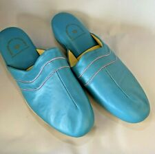 Vintage Leather Turquoise Size 10 Man Made Upper Leather Sole Slippers