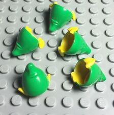 Lego X5 New Elf Mini Figures Hat / Headgear W/ Pointy Ears,Bright Green Top Lot