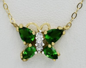 GEMSTONE CLEAN EMERALDS & WHITE SAPPHIRE NECKLACE 10K GOLD* New With Tag *