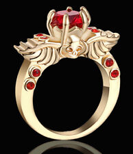 US SELLER Punk Rock Skull RUBY RED GOLD PLATED WOMEN'S RING SIZE 7.5 FREE SHIP