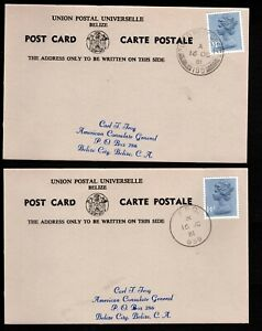 1981 British Forces Belize - 2 Postal Cards with FPO 188 and FPO 939 Cancels