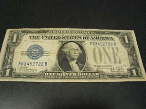 1928 B, $1.00 BLUE Seal, Silver Certificate, FUNNY BACK, Woods Mills (514)