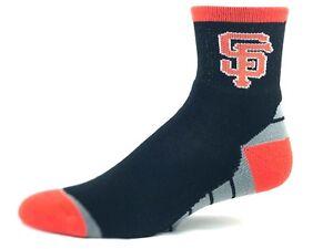San Francisco Giants Baseball Black Orange Gray Block Bottom Quarter Socks