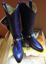 Abilene Purple Women's Leather Cowboy Boots with Concho Boot Chain Size 5 1/2M
