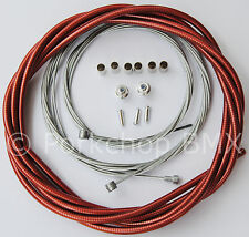 Bicycle 5mm LINED freestyle ACS rotor brake cable kit old school BMX - CLEAR RED