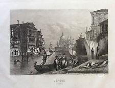 Gondolier Venise ville Italie gravure de 1863 Italia