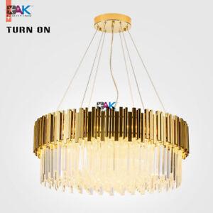Modern Luxury Crystal Chandelier Lighting Living Room Hotel Lobby Light Gold