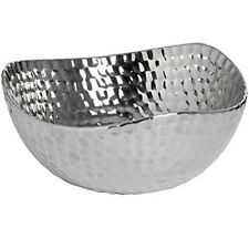 Quality Silver Ceramic Dimple Effect Fruit Bowl Display Home Decor