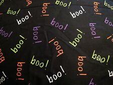 Boo! Halloween Negro David textiles Poly Algodón cuarto gordo
