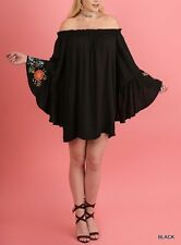 Black Floral Wide Bell Sleeve Off Shoulder Boho Babydoll Dress Tunic Top XL