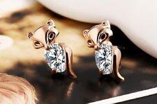 Oro con diamantes de imitación de cristal austriaco blanco brillante Lindo Pendientes de Fox