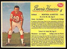 1963 POST CFL FOOTBALL #8 BARRIE HANSEN EX-NM MONTREAL ALOUETTES PIERCE JUNIOR