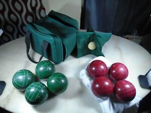 Vintage Bocce Ball Set - 8 Balls and 1 Pallino W/ Green Canvas Carry Bag