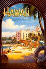"Vintage Illustrated Travel Poster CANVAS PRINT Hawaii Land of Surf & Sun 16""X12"""