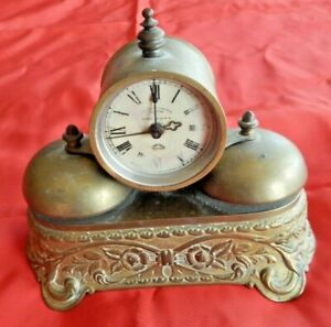 ANTIQUE PARKER USA  VICTORIAN BRASS WIND-UP  ALARM CLOCK Needs Restored