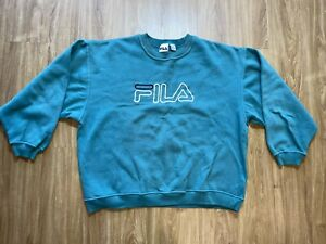 Vintage Fila Spellout Crewneck XXL Made In Canada Green