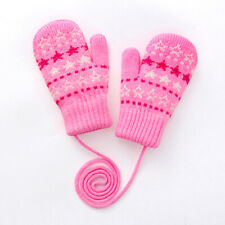 Children's Gloves On String Lovely Knitted mittens Winter Warm Best Gift Unisex