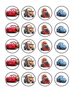 Disney cars Image Birthday cupcake topper 4cm X 20 round A4 icing sheet McQueen