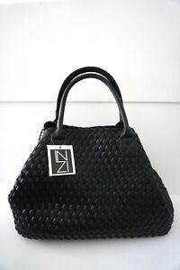 INZI Woven Vegan Large Shoulder Bag Black or Yellow NWT