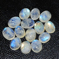29.58 Cts / 14 Pcs Natural Oval Shape Untreated Blue Flash Moonstone Gems Lot