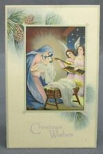 Antique Postcard Chrismtas Wishes Madonna Mary & Baby Jesus in Manger Angels