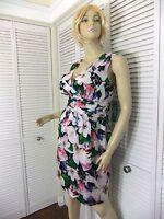 NWT $154 Ralph Lauren Dress Floral V-Neck Sleeveless Silky Ruched Empire Waist