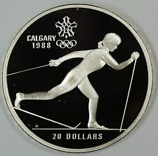 1986 Canada $20 Proof 1988 Calgary Olympic Coin- Cross Country Skiing- w/Capsule