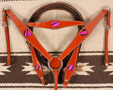 New Pink Zebra Hearts Leather Western Horse Tack Bridle Headstall Breast Collar
