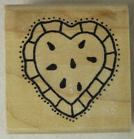 Azadi Earles Rubber Stamp Valentine Watermelon Heart Pie Wood Mounted