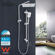 "2 In 1 WELS 10"" Square Rain Shower Head Wall Arm Set 3 Mode Handheld Rail Chrome"