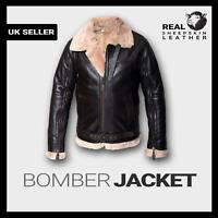 New Mens Winter RAF B3 Real Sheepskin Shearling Flying Brown Leather Jacket