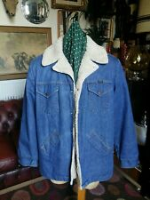 Vintage 1960s 70s Western Trucker Wrangler Shearling Denim jacket coat.Large -XL