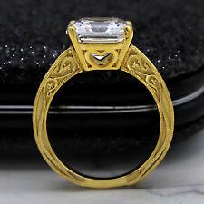 6 ct Asscher Cut Diamond Engagement Ring 14kt Yellow Gold Milgrain Designer Ring