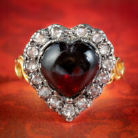GARNET DIAMOND HEART RING SILVER 18CT GOLD 4CT GARNET 1CT OF DIAMOND