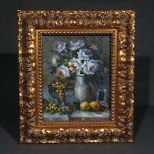 Oil Painting on Canvas with Frame, Bouquet of Flowers, Vase, Grapes and Fruit
