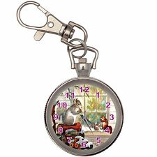 Christmas Squirrel Silver Key Ring Chain Pocket Watch