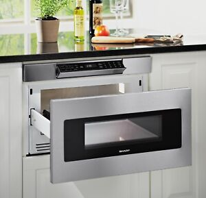 24 in. 1.2 cu. ft. 950W Sharp Stainless Steel Microwave Drawer Oven (SMD2470ASY)