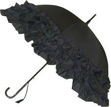 Blooming Brollies Boutique Triple Frill Stick Umbrella - Black