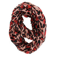 """NEW WOMEN'S FASHION RED PINK LEOPARD ANIMAL PRINT INFINITY LOOP SCARF 37"""" BY 70"""""""