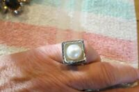 SILPADA Layered Sterling Silver & Freshwater Pearl Ring Size 5 1/2- 6 - RETIRED